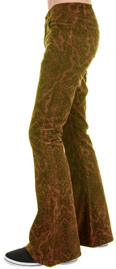 Mens Tan Paisley Hendrix Corduroy Bell Bottom Trousers - CXLondon.Com