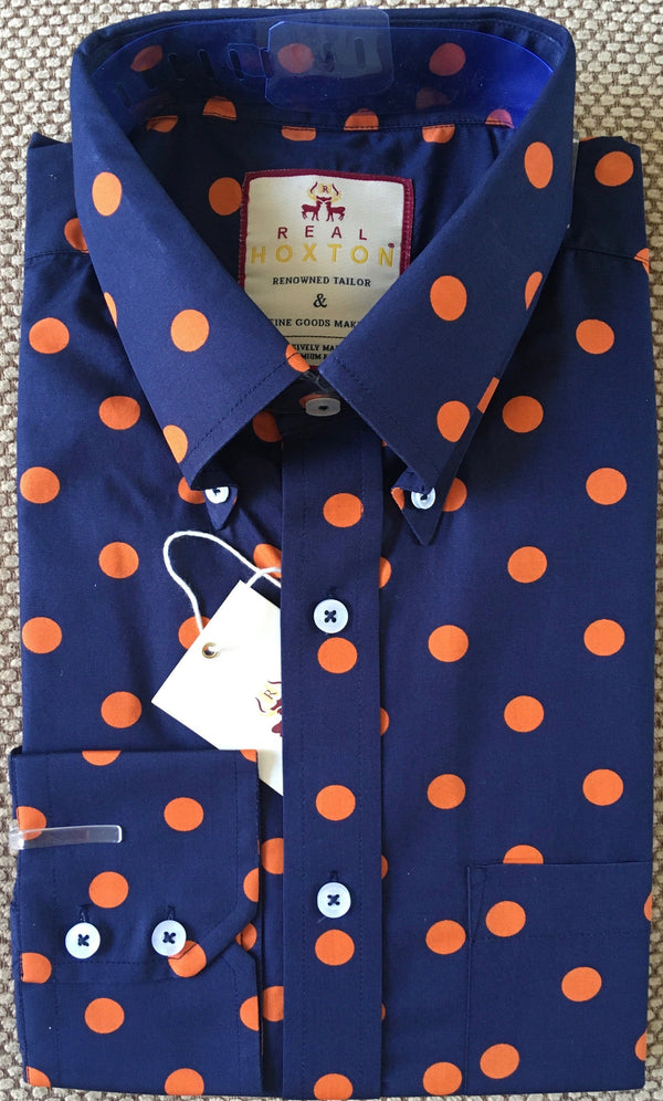 Shirt Polka Dot Men's Navy Orange - Real Hoxton