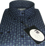 Shirt Navy Blue Paisley Men's Mr Free™ - CXLondon.Com