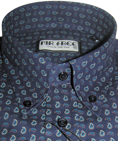 Shirt Navy Blue Paisley Men's Mr Free™