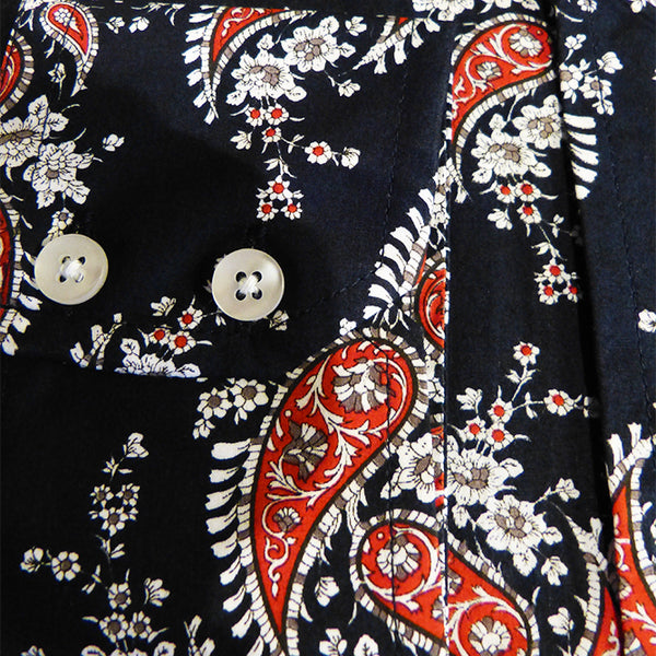 Mens Paisley Shirt Dark Midnight Blue Red  Button Down Collar - Relco - CXLondon.Com