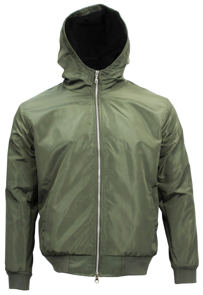Polar Quilted Splash Proof Hooded Jacket Olive - Real Hoxton