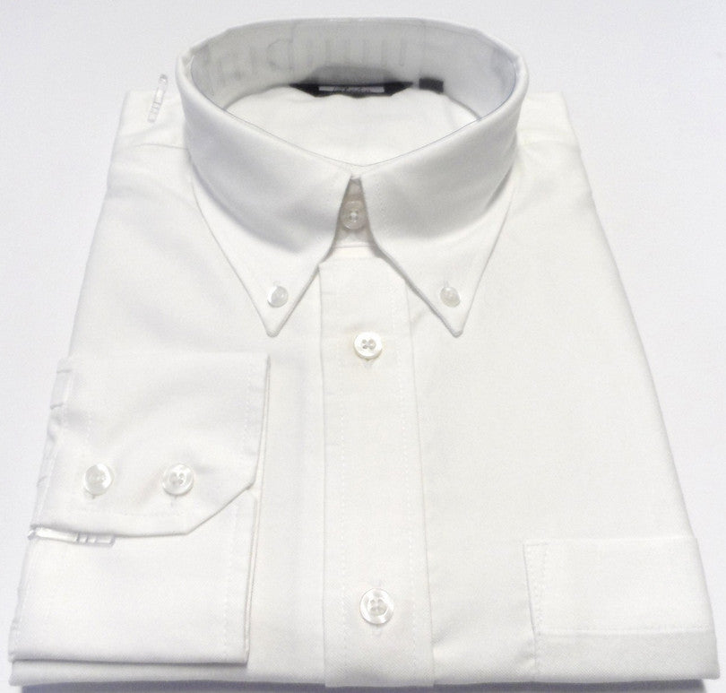 Mens White Oxford Button Down Long Sleeve Shirt - Relco - CXLondon.Com