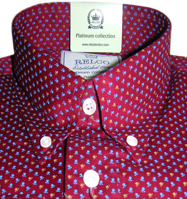 Mens Shirt Red Floral Motif Button Down Collar - Relco Platinum - CXLondon.Com