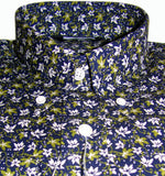 Mens Shirt Navy Olive Floral Button Down Collar - Relco - CXLondon.Com