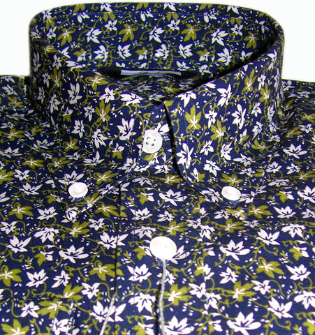 Mens Shirt Navy Olive Floral Button Down Collar - Relco