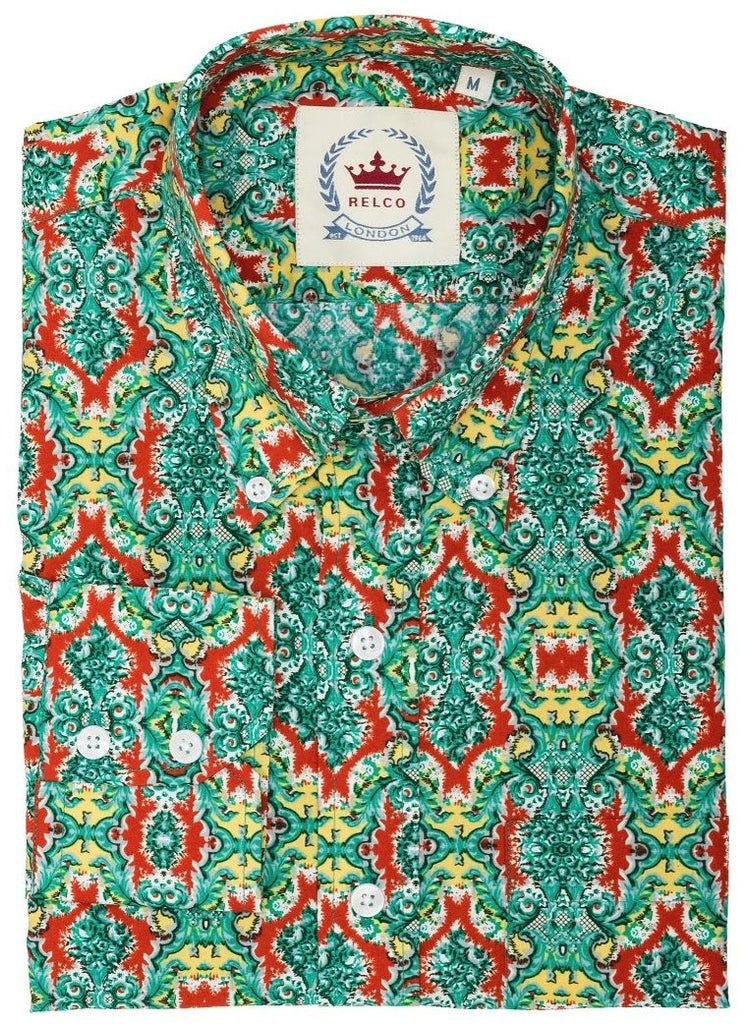 Mens Shirt Green patterned shirt with red detail - Relco