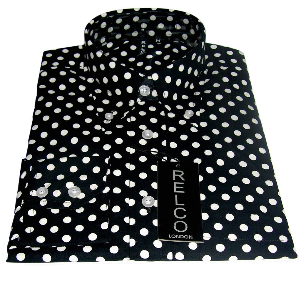 Shirt Polka Dot Men's Black Casual Vintage - CXLondon.Com