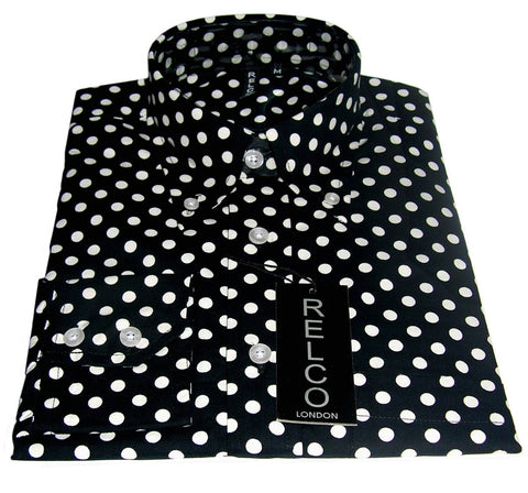 Shirt Polka Dot Men's Black Casual Vintage