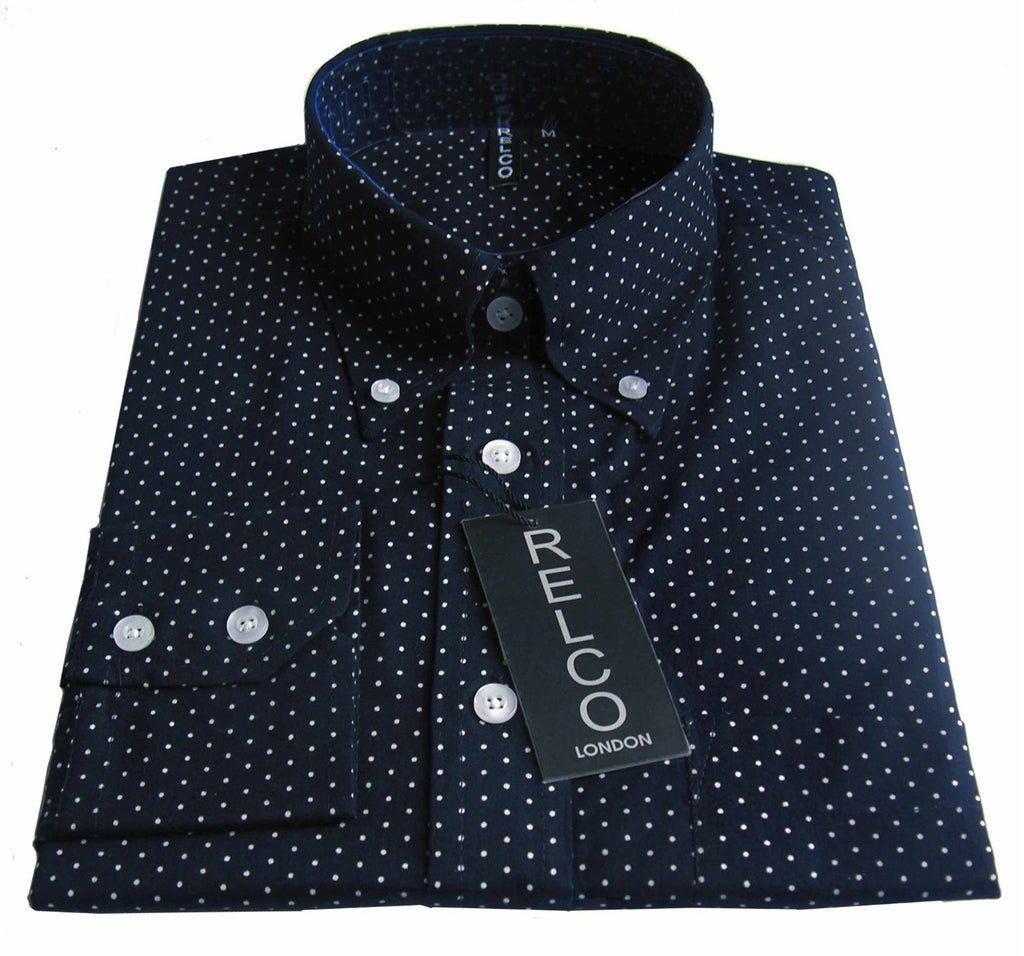 Shirt Micro Dot Men's Dark Navy A Casual Classic - CXLondon.Com