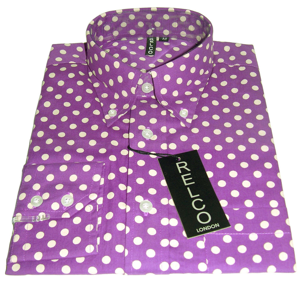 Shirt Polka Dot Men's Purple - CXLondon.Com