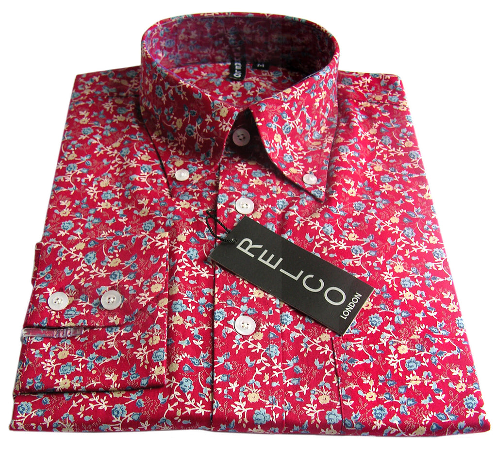 Mens Shirt Red Floral Button Down Long Sleeve Casual - CXLondon.Com