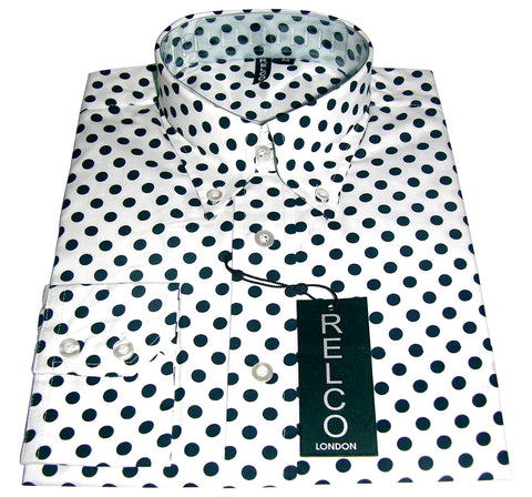 Shirt Polka Dot Men's White  Casual