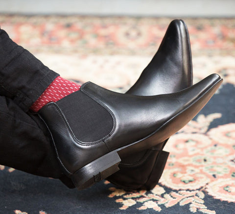 Shoes SLY Black Leather Chelsea Boots by Ikon