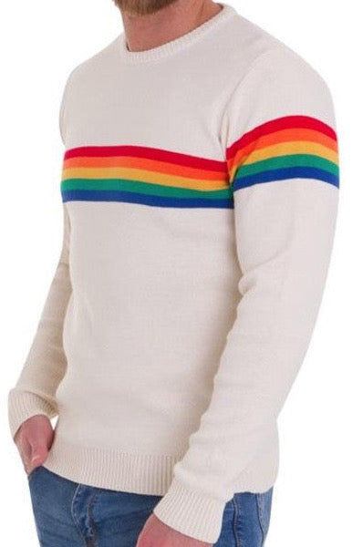 Mens Cream 60s 70s Vibe Hipster Rainbow Jumper - CXLondon.Com