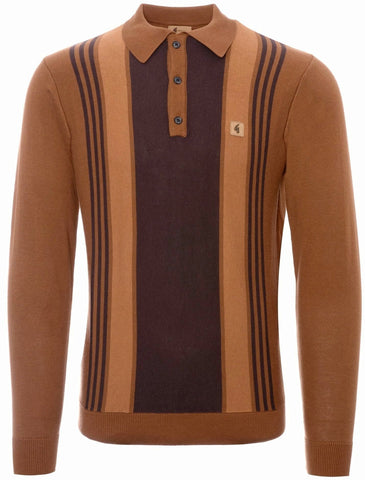 Gabicci Vintage 'Searle' Polo Top Long Sleeve Toffee