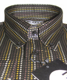 Mens Shirt Dogtooth Check Black Gold Brown White  Mr Free™ - CXLondon.Com