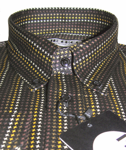 Mens Shirt Dogtooth Check Black Gold Brown White  Mr Free™