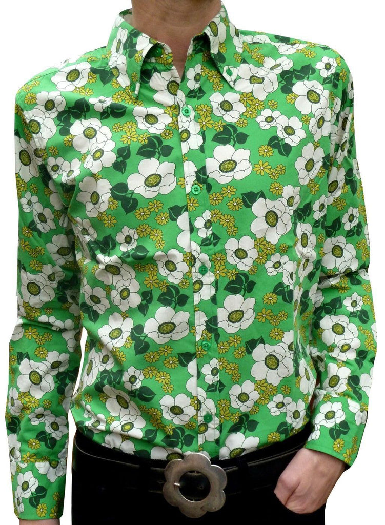 Shirt Psychedelic Mod Green Floral by Run & Fly