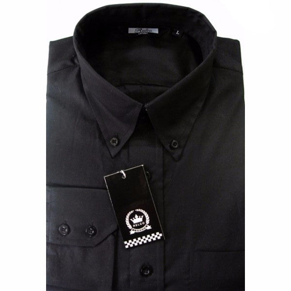 Mens Black Oxford Button Down Long Sleeve Shirt - Relco - CXLondon.Com