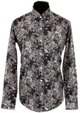 Mens Shirt Midnight & White Floral Pindot  Button Down Collar - Relco - CXLondon.Com