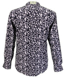 Mens Shirt Midnight White Floral Button Down Collar - Platinum Relco - CXLondon.Com