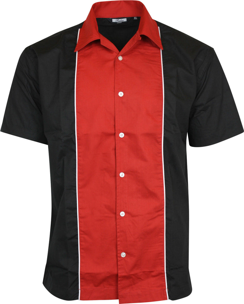 Shirt Red Black Bowling  Short Sleeve -  Relco - CXLondon.Com