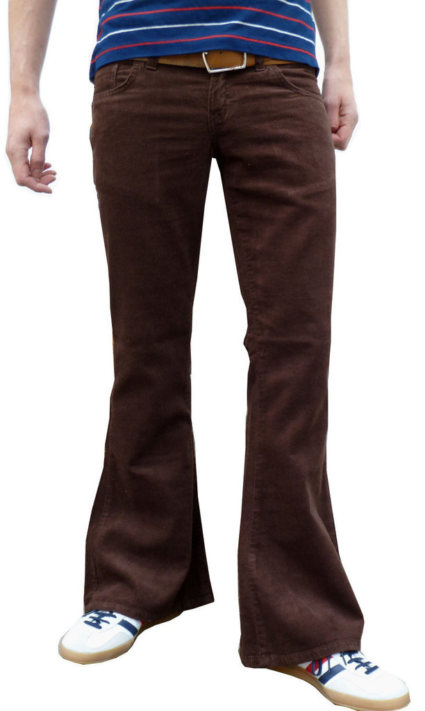 Mens 60s 70s Vintage Brown Bell Corduroy Bottom Flares - CXLondon.Com