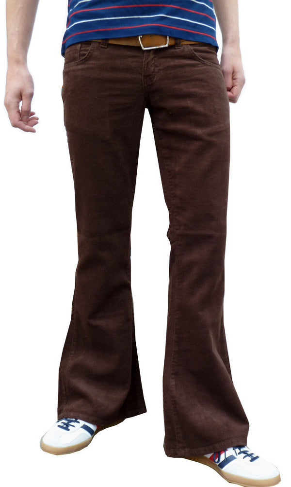 Mens 60s 70s Vintage Brown Bell Corduroy Bottom Flares Back Pocket Stitch Detail - CXLondon.Com