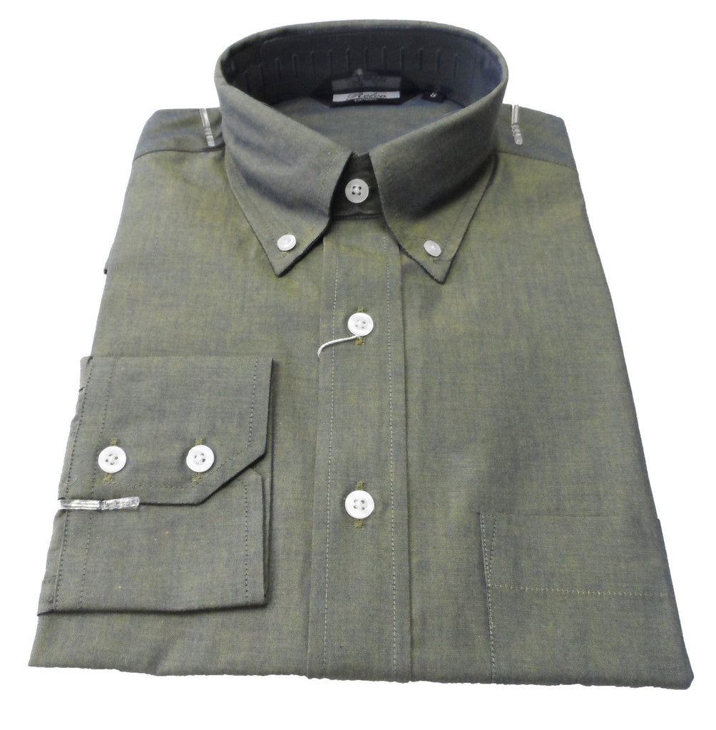 Mens Green Gold Tonic Button Down Long Sleeve Shirt - Relco - CXLondon.Com