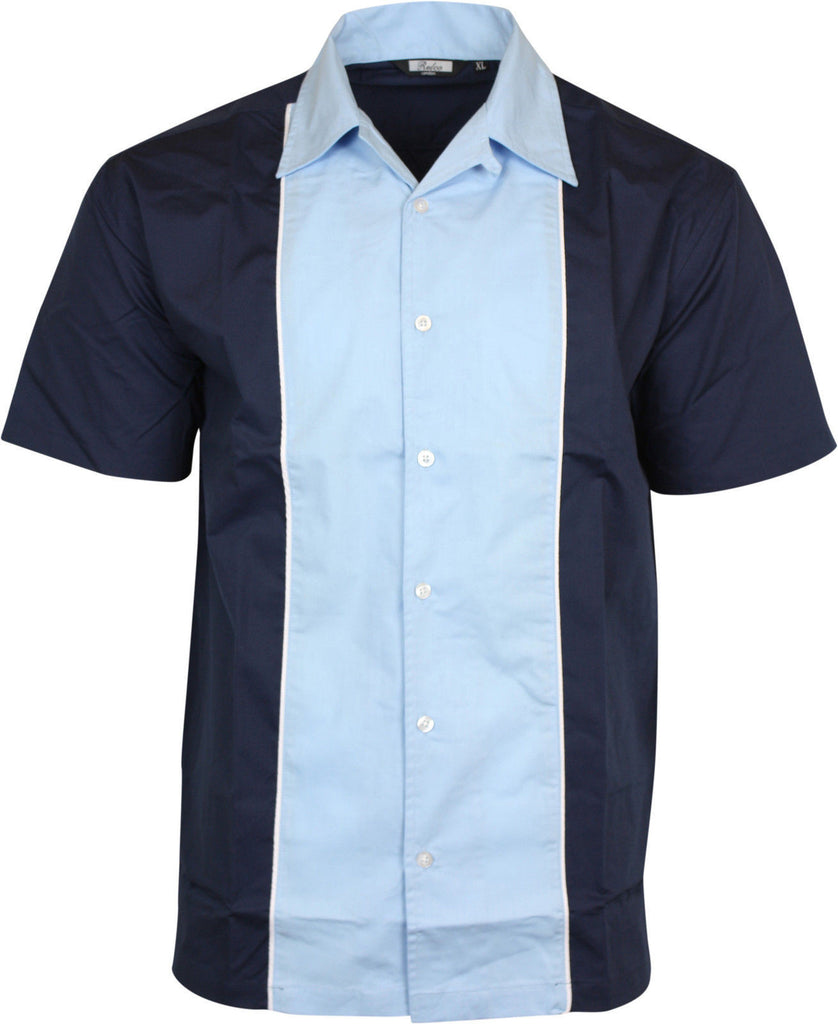 Shirt Sky Black Bowling  Short Sleeve -  Relco - CXLondon.Com