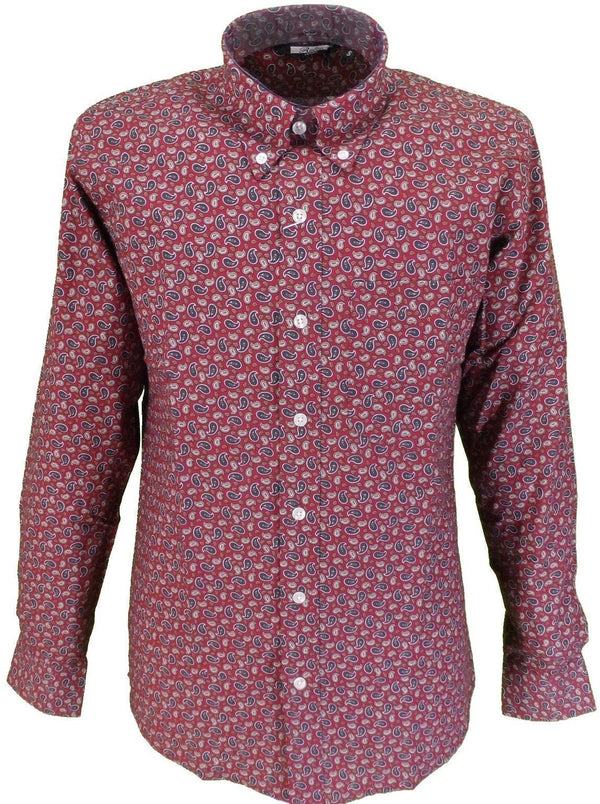 Mens Paisley Burgundy Shirt Button Down Collar - Relco