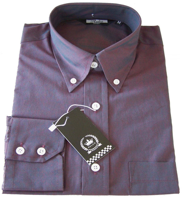 Mens Burgundy & Blue Tonic Button Down Long Sleeve Shirt - Relco - CXLondon.Com
