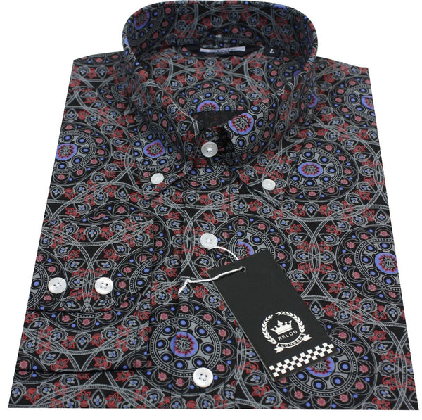 Shirt Black Purple Geometric Button Down Relco - CXLondon.Com