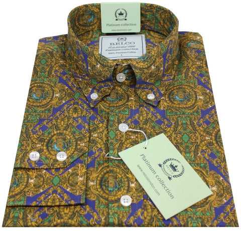 Mens Shirt Gold Purple Geometric Button Down Collar - Relco Platinum - CXLondon.Com