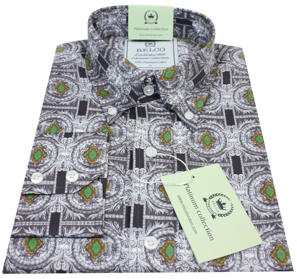 Shirt Men's Black Silver Geometric Baroque Platinum Range - Relco - CXLondon.Com