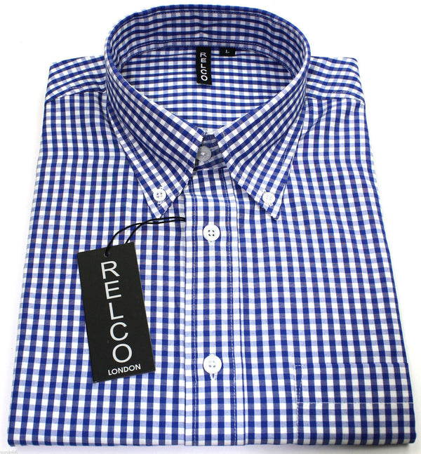 Shirt Gingham Check Blue White Short Sleeve - CXLondon.Com