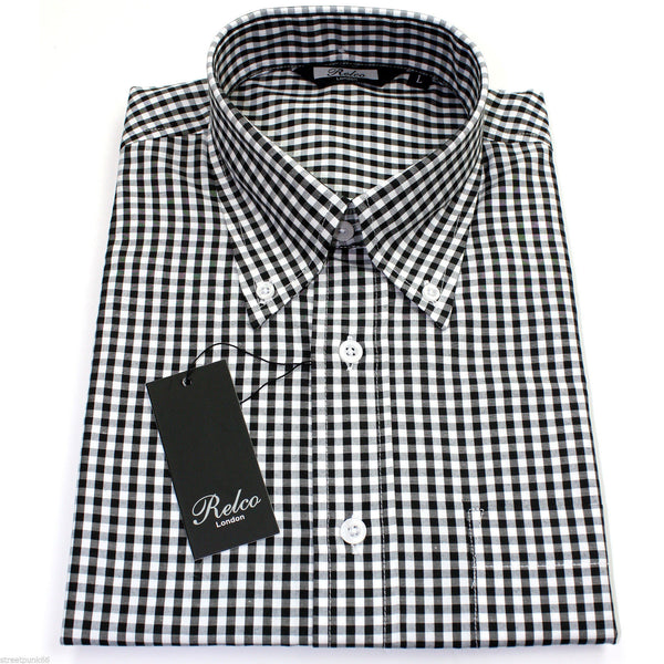 Shirt Gingham Check Black White Short Sleeve - CXLondon.Com
