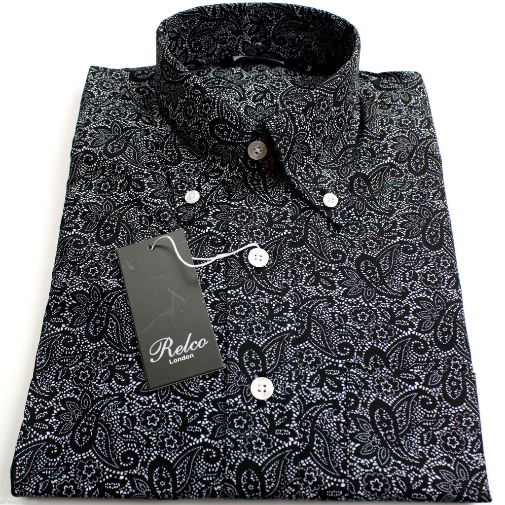 Shirt Paisley Men's Black Casual Vintage - Relco - CXLondon.Com