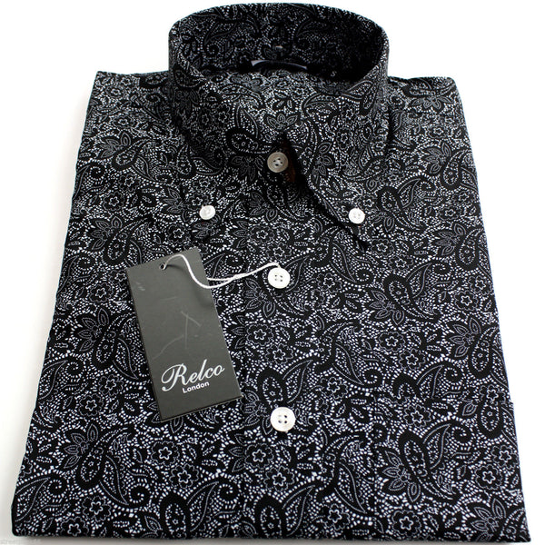 Shirt Paisley Men 39 S Black Casual Vintage Relco