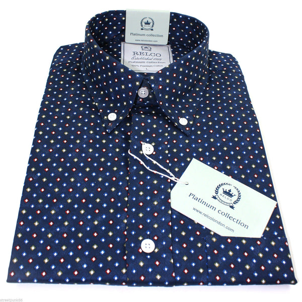 Shirt Mens Multi Diamond Patern Platinum Range - Relco - CXLondon.Com