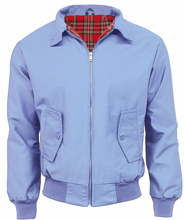 Harrington Jacket Sky Blue With Tartan Lining Relco - CXLondon.Com