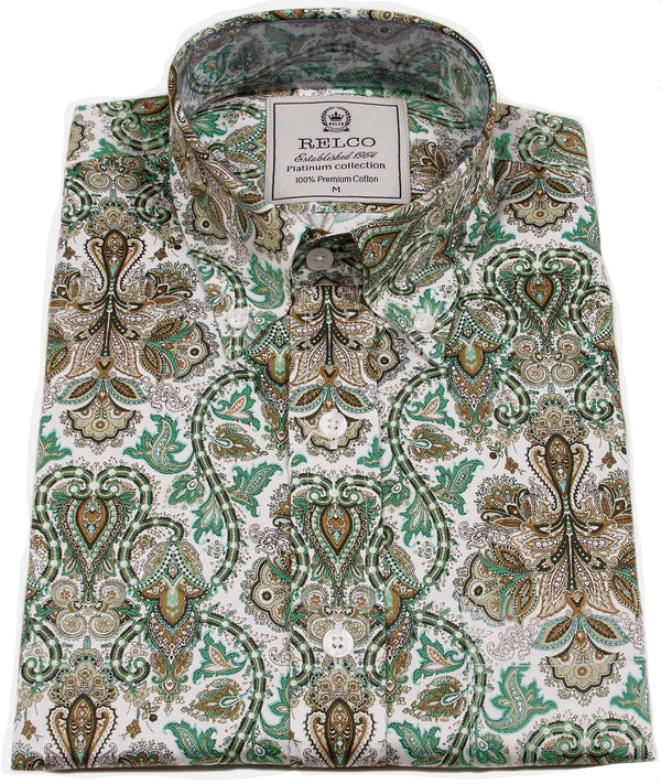 Mens Shirt Green Gold Paisley Button Down Collar - Relco Platinum - CXLondon.Com