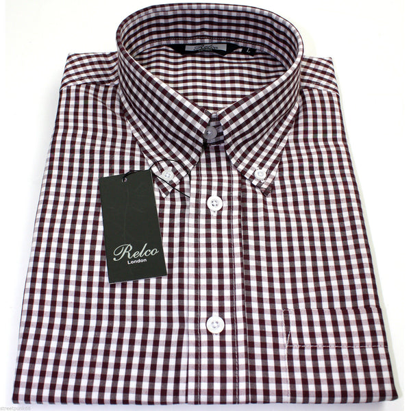 Shirt Gingham Check Burgundy White Short Sleeve - CXLondon.Com