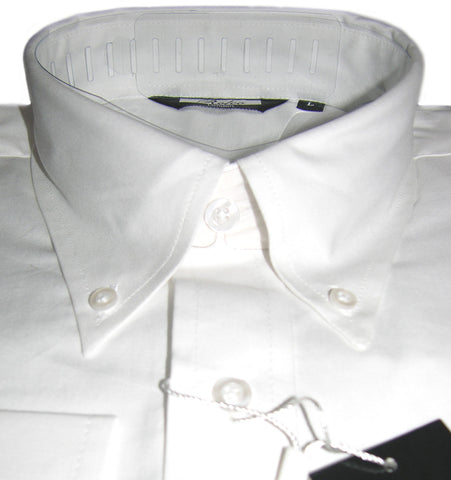 Mens White Oxford Button Down Long Sleeve Shirt - Relco