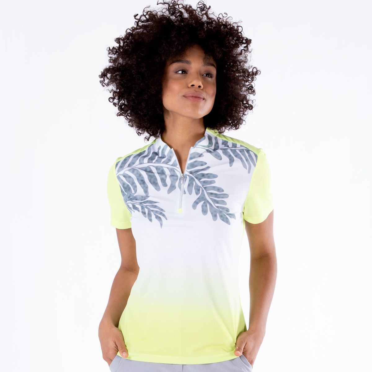 NIVO GOLF WOMENS CALYSTA MOCK IN SUNNY LIME