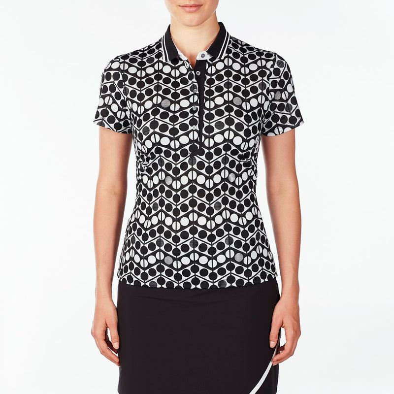 WHITNEY POLO GOLF 001 BLACK WAVES WAVES,WHITNEY POLO,TOPS,SHORT SLEEVE,POLO,001 BLACK,