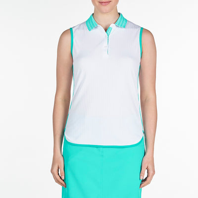 DAPHNE POLO GOLF  100 WHITE XL DISCOVER DISCOVER, DAPHNE POLO, TOPS, SLEEVELESS, POLO, 100 WHITE, XL