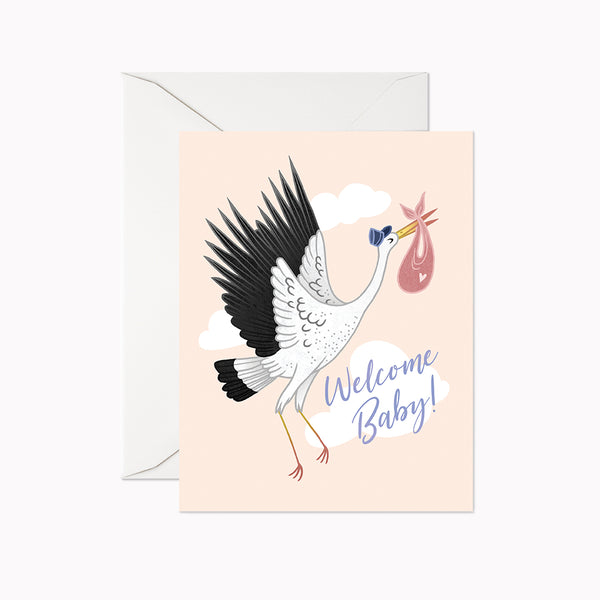 Welcome Baby Stork Card - Linden Paper Co. , Greeting Card - Stationery Brand, Linden Paper Co. Linden Paper Co., Linden Paper Co.  Linden Paper Co.