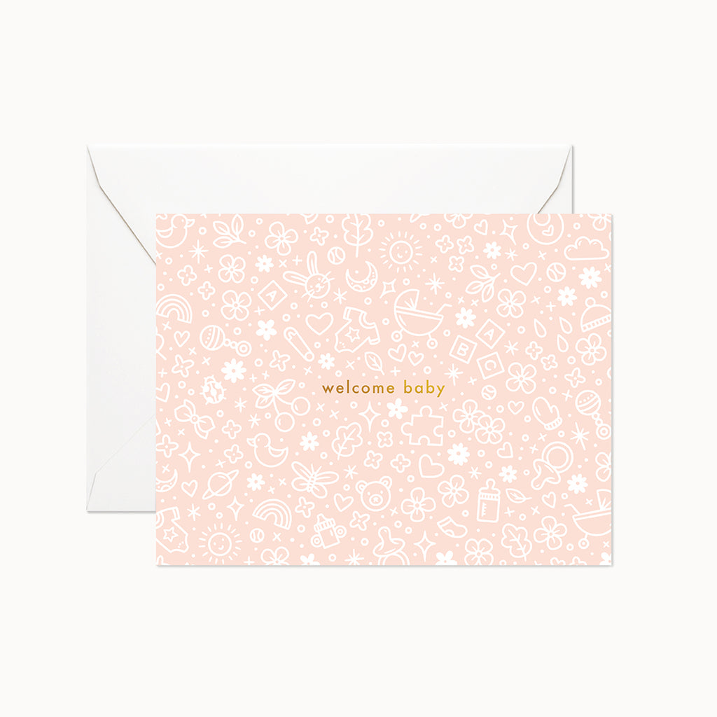 Welcome Baby Peach Card - Linden Paper Co. , Greeting Card - Stationery Brand, Linden Paper Co. Linden Paper Co., Linden Paper Co.  Linden Paper Co.